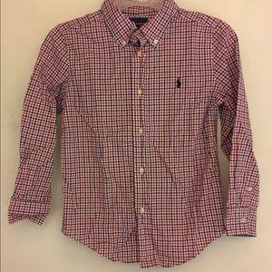Ralph Lauren Polo Gingham Oxford Shirt Boys Sz 6